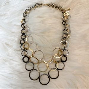 """Tri Layered Metal Plate Three Tone Necklace 20"""""""